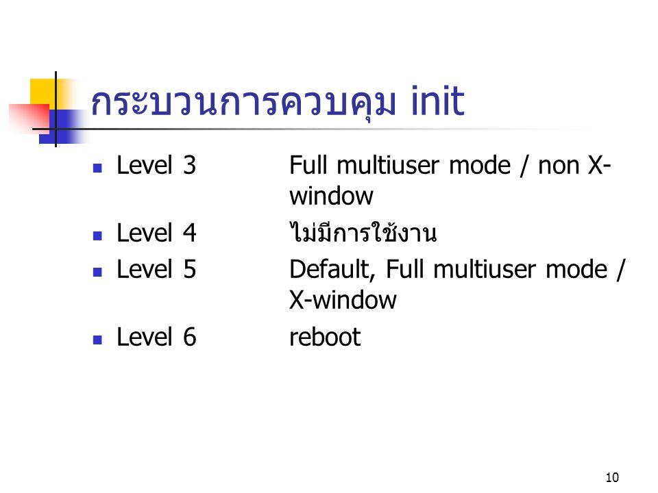 กระบวนการควบคุม init Level 3 Full multiuser mode / non X- window