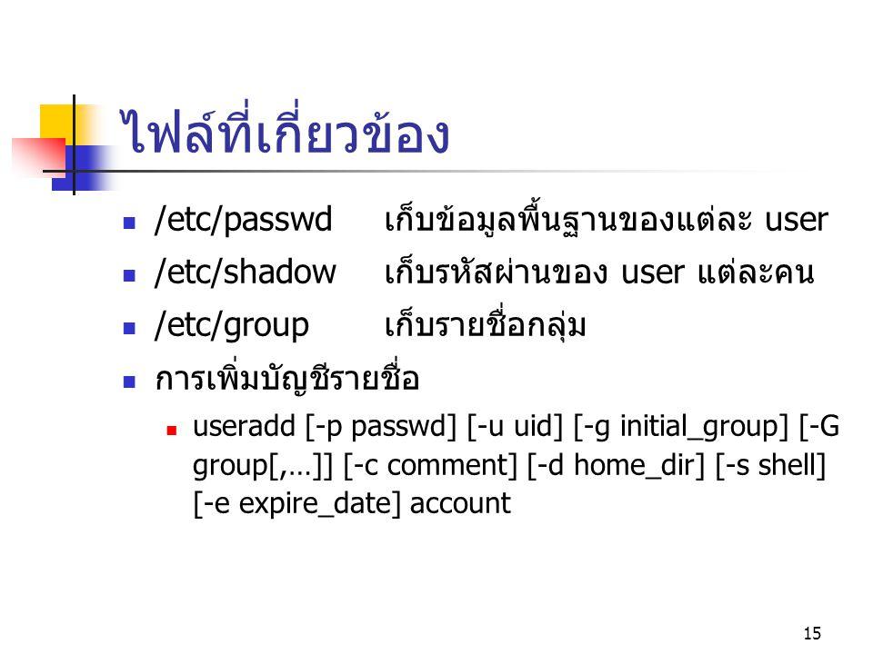 ไฟล์ที่เกี่ยวข้อง /etc/passwd เก็บข้อมูลพื้นฐานของแต่ละ user