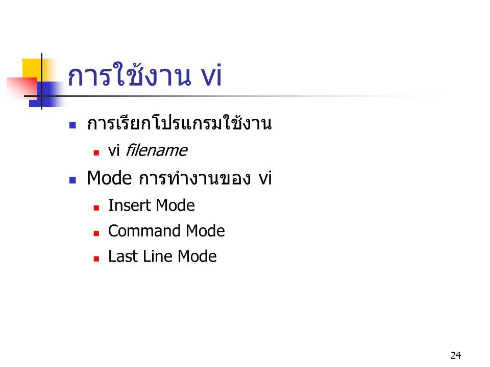 การใช้งาน vi การเรียกโปรแกรมใช้งาน Mode การทำงานของ vi vi filename