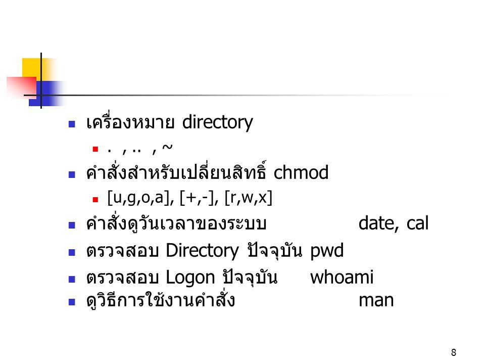 เครื่องหมาย directory คำสั่งสำหรับเปลี่ยนสิทธิ์ chmod