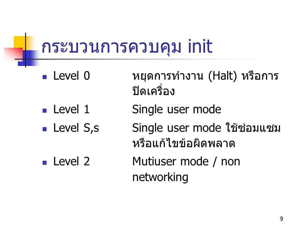 กระบวนการควบคุม init Level 0 หยุดการทำงาน (Halt) หรือการ ปิดเครื่อง