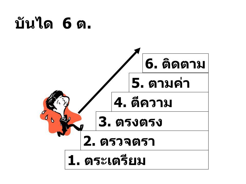 บันได 6 ต. 6. ติดตาม 5. ตามค่า 4. ตีความ 3. ตรงตรง 2. ตรวจตรา