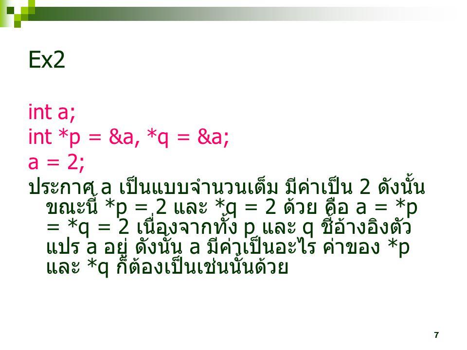 Ex2 int a; int *p = &a, *q = &a; a = 2;
