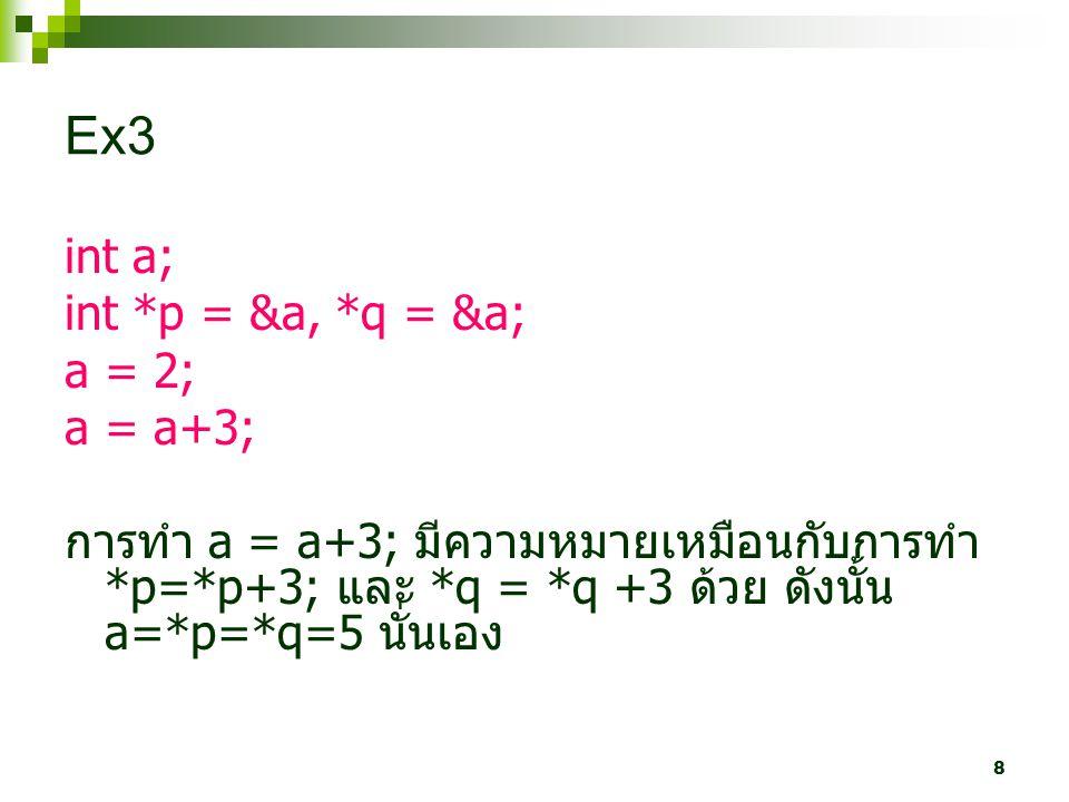 Ex3 int a; int *p = &a, *q = &a; a = 2; a = a+3;