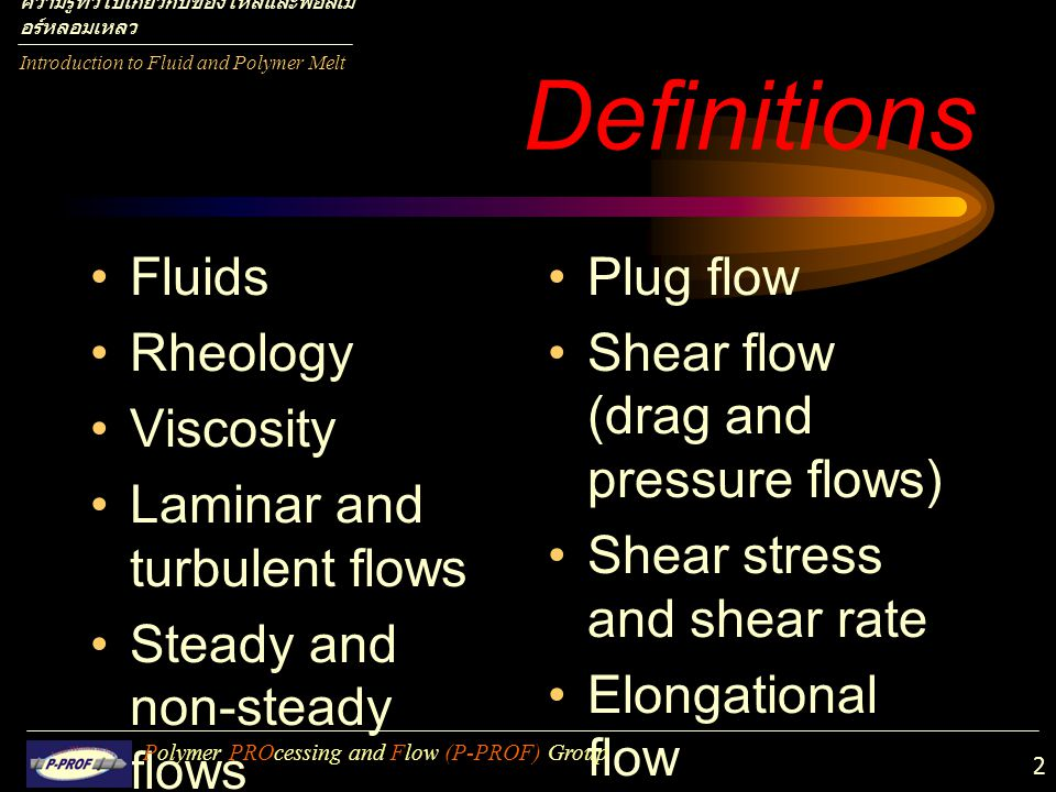 Definitions Fluids Rheology Viscosity Laminar and turbulent flows