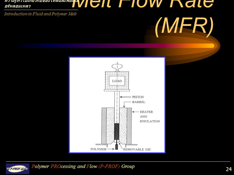 Melt Flow Rate (MFR) Polymer PROcessing and Flow (P-PROF) Group
