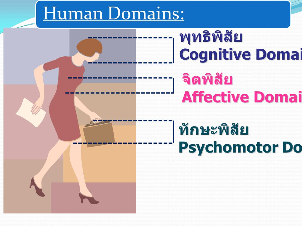 Human Domains: พุทธิพิสัย Cognitive Domain จิตพิสัย Affective Domain