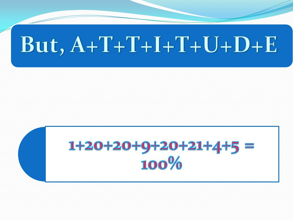 But, A+T+T+I+T+U+D+E 1+20+20+9+20+21+4+5 = 100%