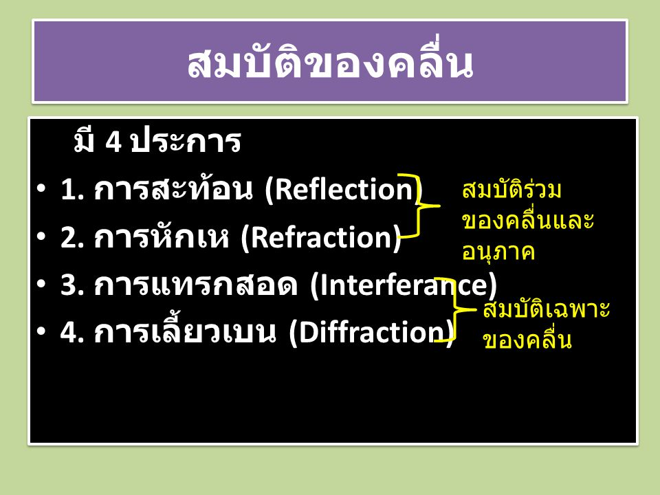 สมบัติของคลื่น มี 4 ประการ 1. การสะท้อน (Reflection)