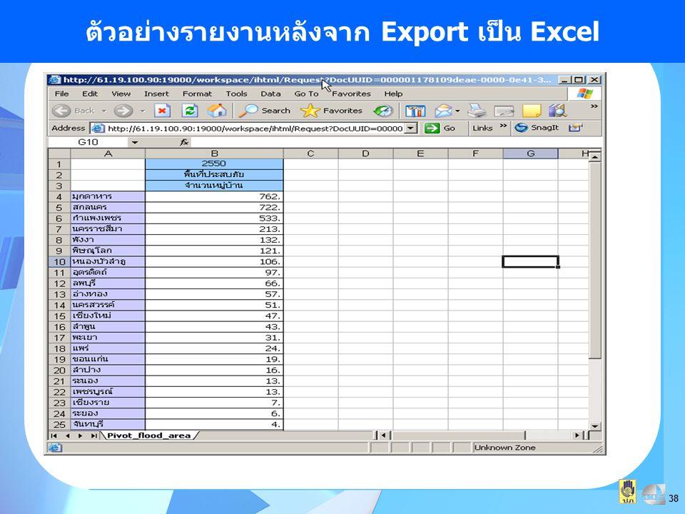 ตัวอย่างรายงานหลังจาก Export เป็น Excel