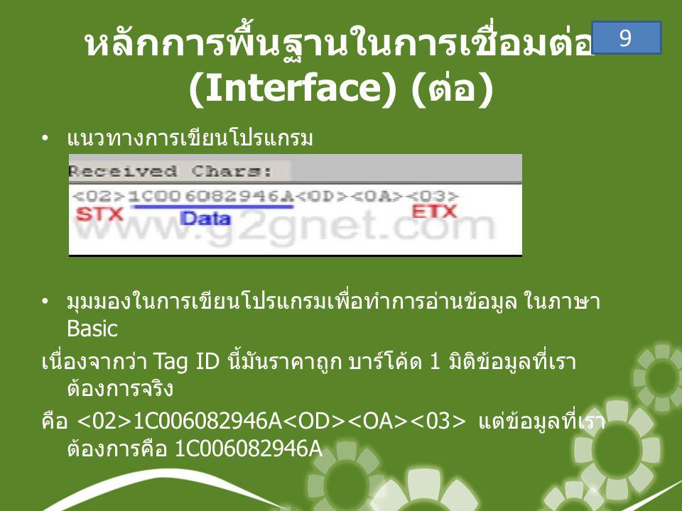 หลักการพื้นฐานในการเชื่อมต่อ (Interface) (ต่อ)