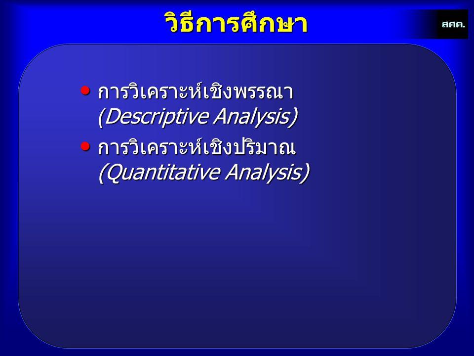 วิธีการศึกษา การวิเคราะห์เชิงพรรณา (Descriptive Analysis)
