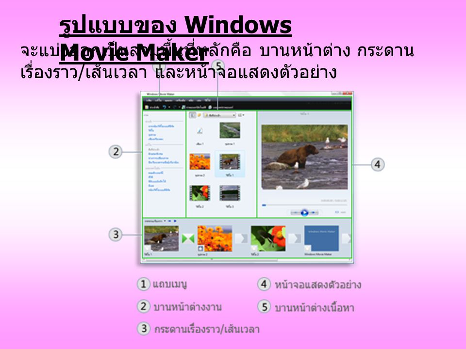 รูปแบบของ Windows Movie Maker