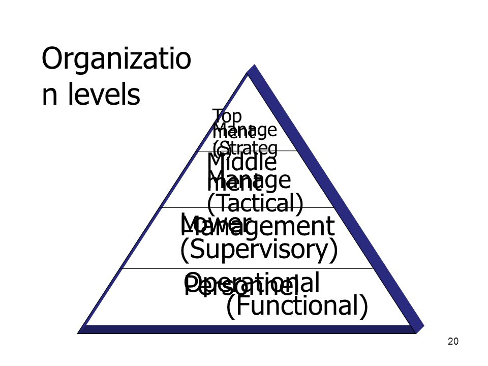 Organization levels Lower Management (Supervisory)