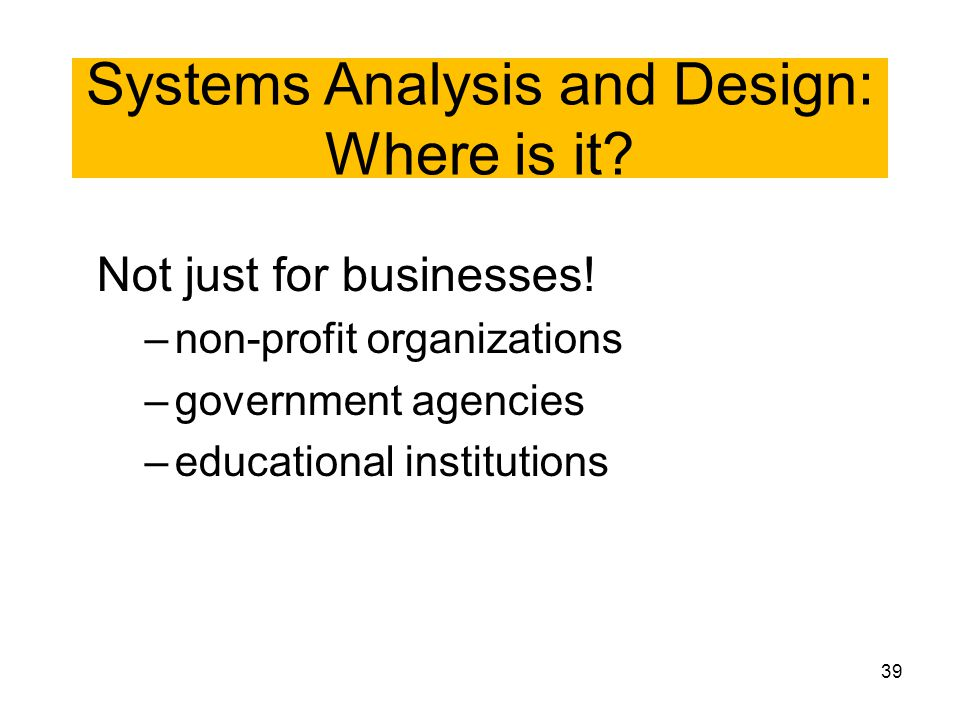 Systems Analysis and Design: Where is it