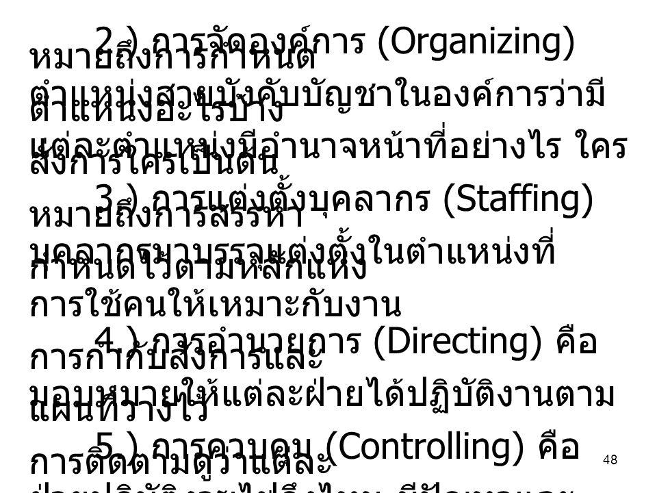 2.) การจัดองค์การ (Organizing) หมายถึงการกำหนด