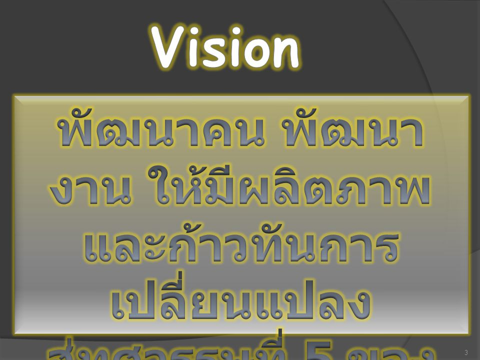 Vision พัฒนาคน พัฒนางาน ให้มีผลิตภาพและก้าวทันการเปลี่ยนแปลง