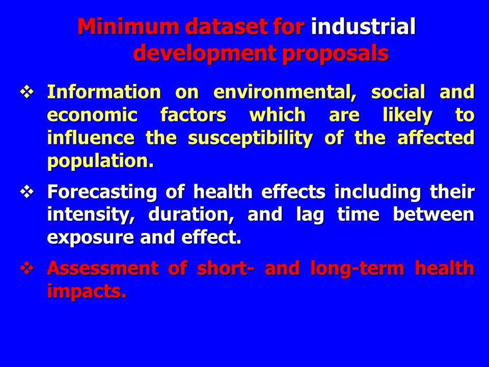 Minimum dataset for industrial development proposals