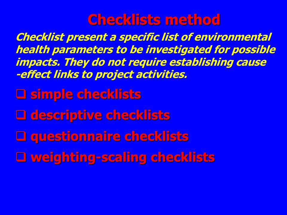Checklists method simple checklists descriptive checklists