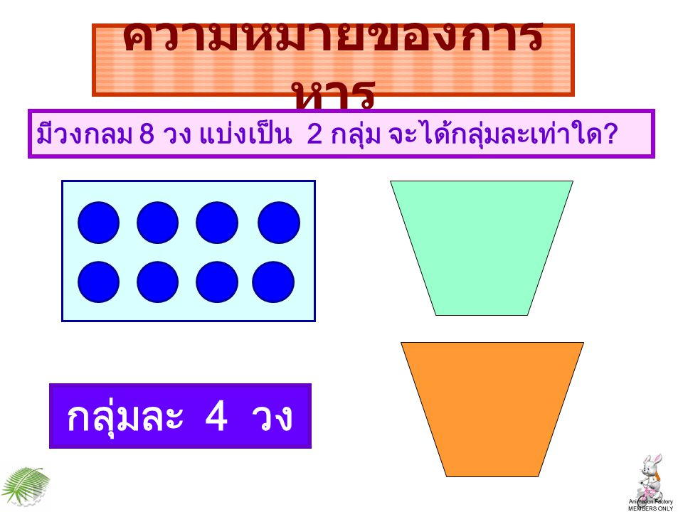 ความหมายของการหาร กลุ่มละ 4 วง