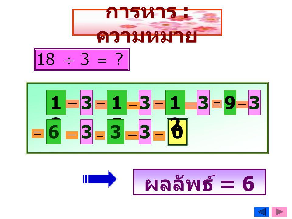 การหาร : ความหมาย ผลลัพธ์ = 6