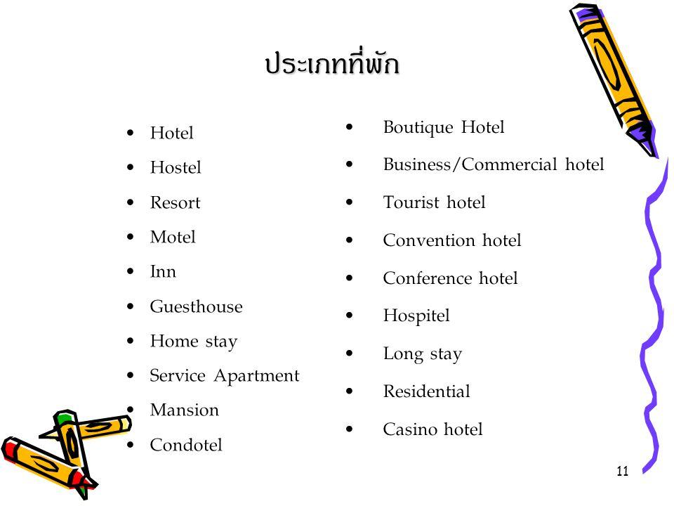 ประเภทที่พัก Boutique Hotel Hotel Business/Commercial hotel Hostel