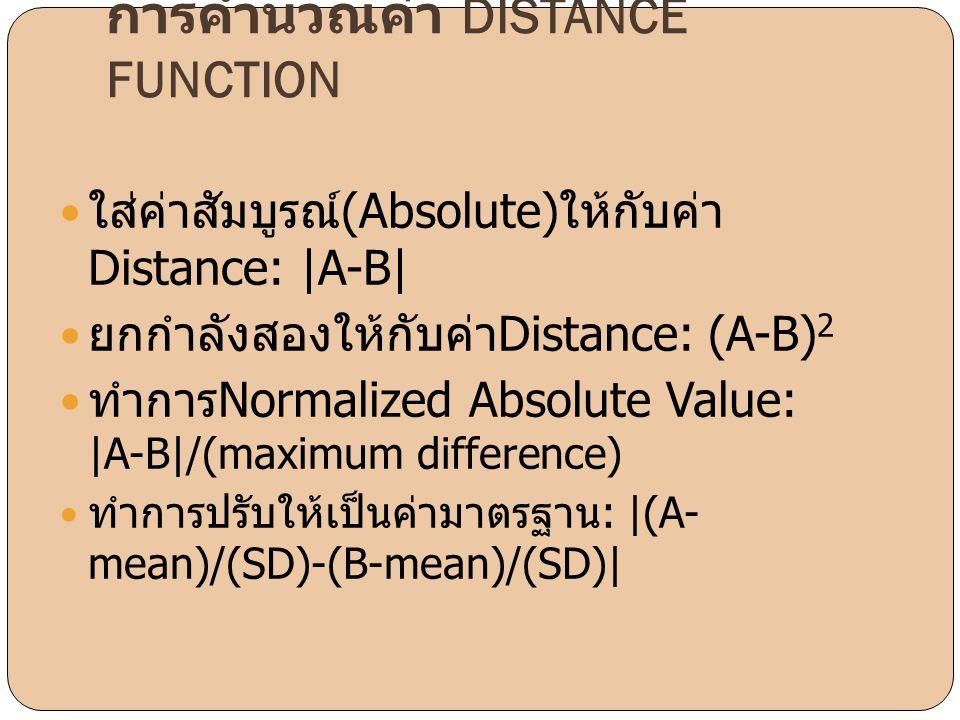 การคำนวณค่า DISTANCE FUNCTION