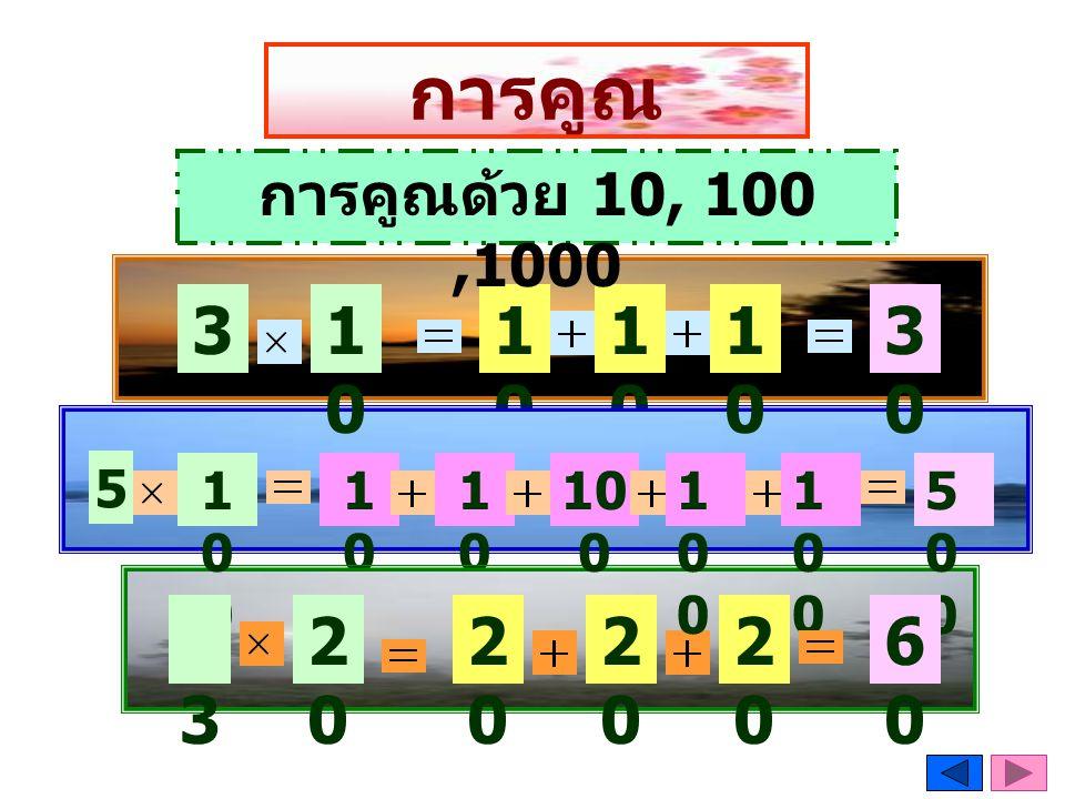 การคูณ การคูณด้วย 10, 100 ,1000 3 10 10 10 10 30 5 100 100 100 100 100 100 500 3 20 20 20 20 60