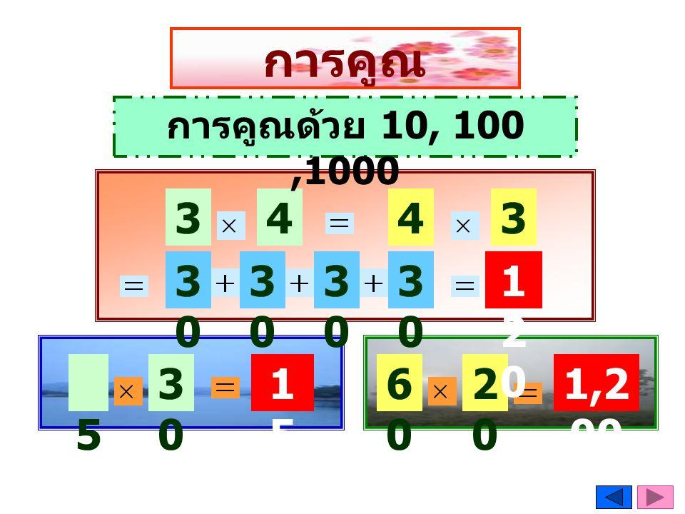 การคูณ การคูณด้วย 10, 100 ,1000 30 4 4 30 30 30 30 30 120 5 30 150 60 20 1,200