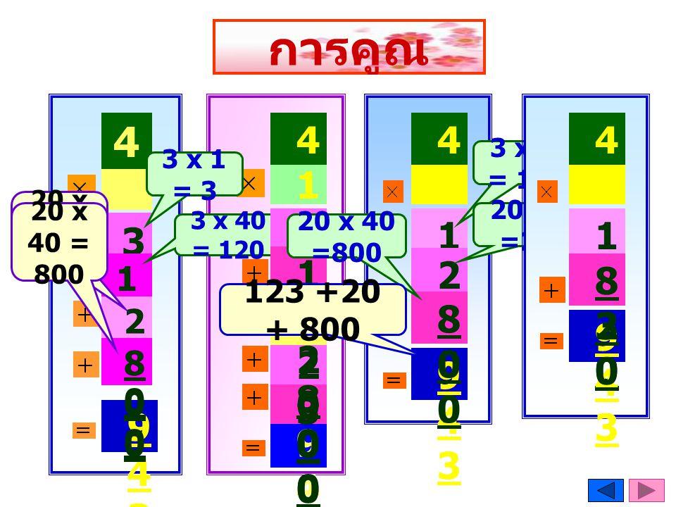 การคูณ 41. 41. 41. 41. 3 x41 = 123. 3 x 1 = 3. 23. 23. 23. 23. 20 x 1 = 20. 20 x 40 = 800.