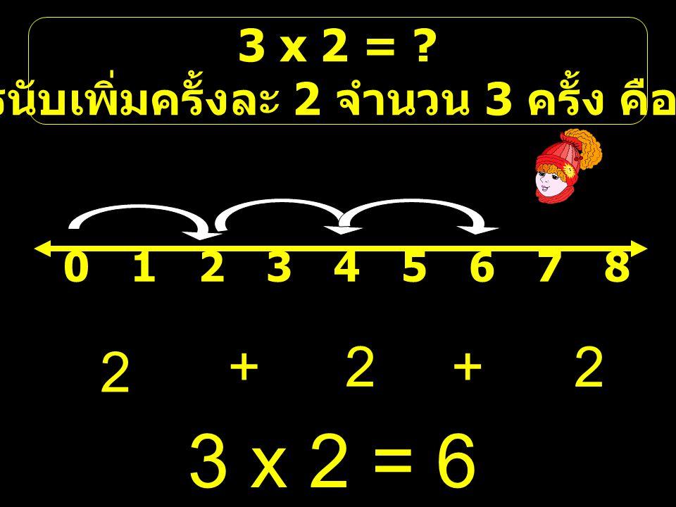 คือการนับเพิ่มครั้งละ 2 จำนวน 3 ครั้ง คือ 2,4,6