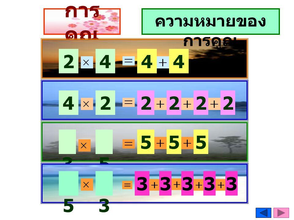การคูณ ความหมายของการคูณ 2 4 4 4 4 2 2 2 2 2 3 5 5 5 5 5 3 3 3 3 3 3