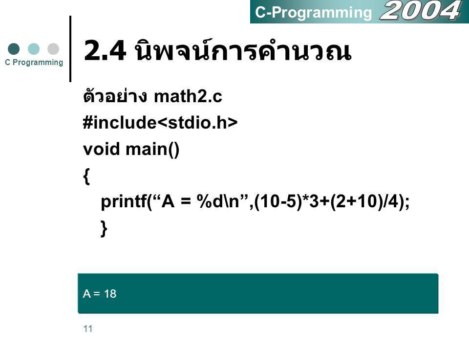 2.4 นิพจน์การคำนวณ 2004 ตัวอย่าง math2.c #include<stdio.h>