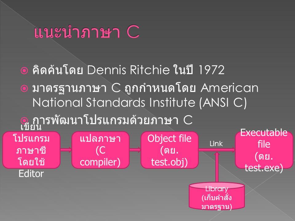 เขียนโปรแกรมภาษาซี โดยใช้ Editor
