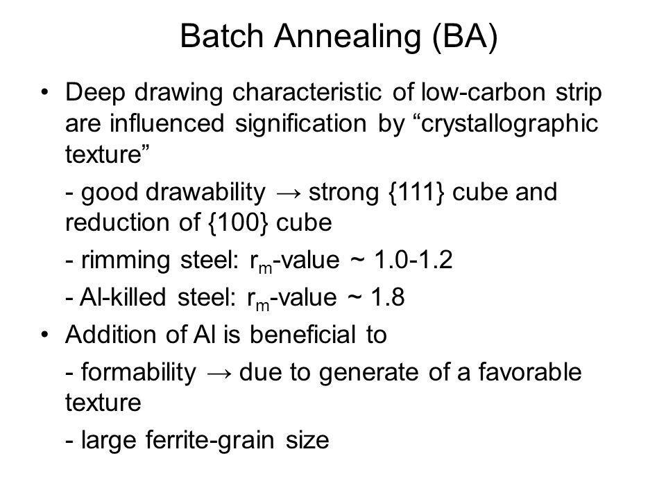 Batch Annealing (BA) Deep drawing characteristic of low-carbon strip are influenced signification by crystallographic texture