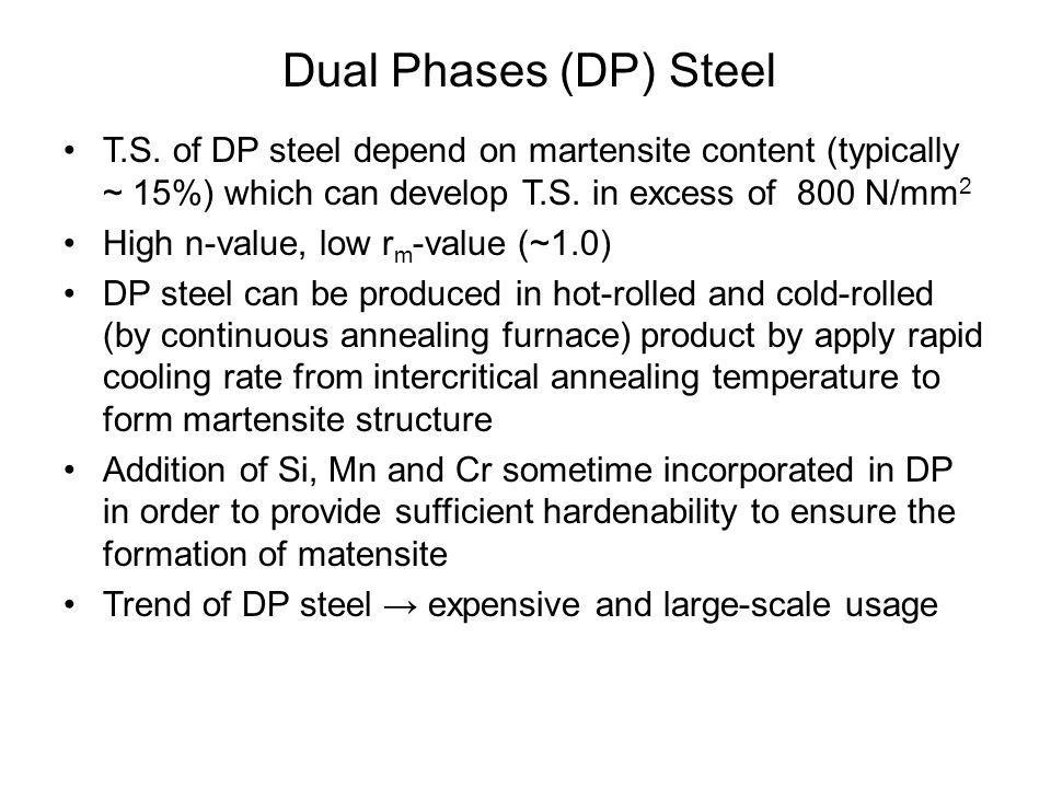 Dual Phases (DP) Steel T.S. of DP steel depend on martensite content (typically ~ 15%) which can develop T.S. in excess of 800 N/mm2.