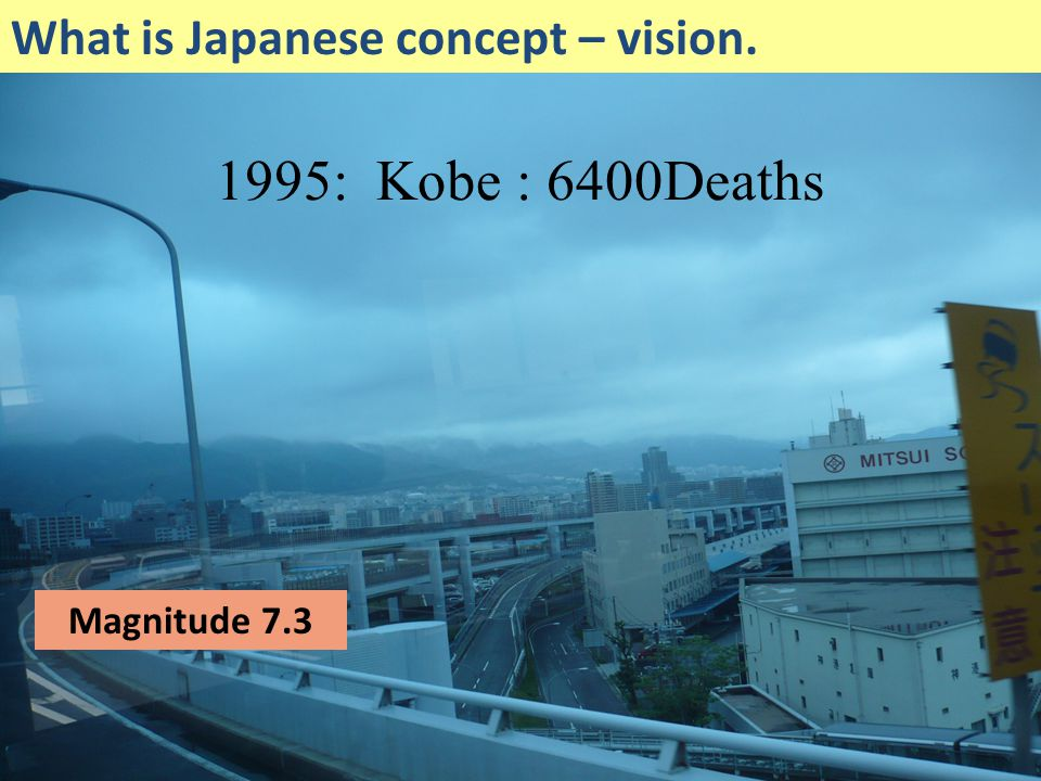 1995: Kobe : 6400Deaths What is Japanese concept – vision.
