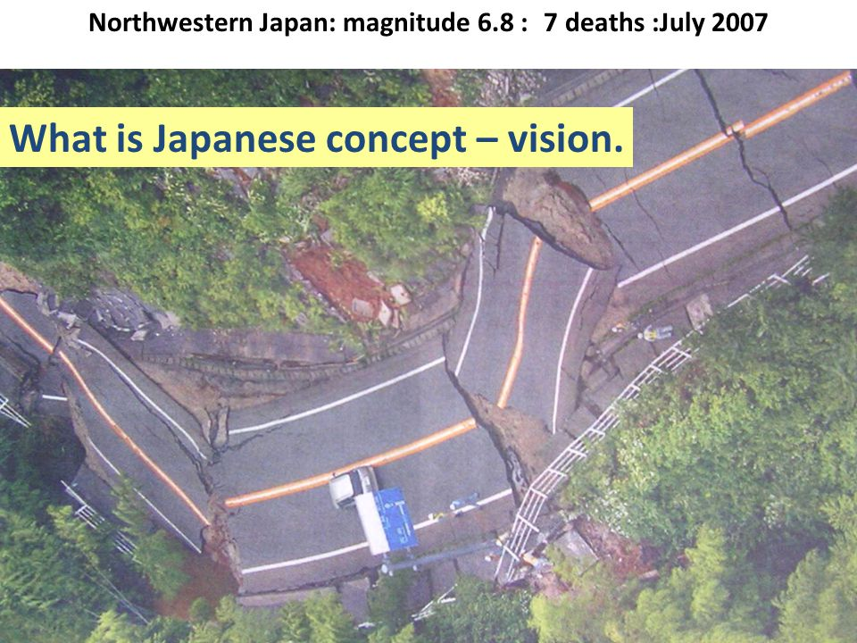 Northwestern Japan: magnitude 6.8 : 7 deaths :July 2007