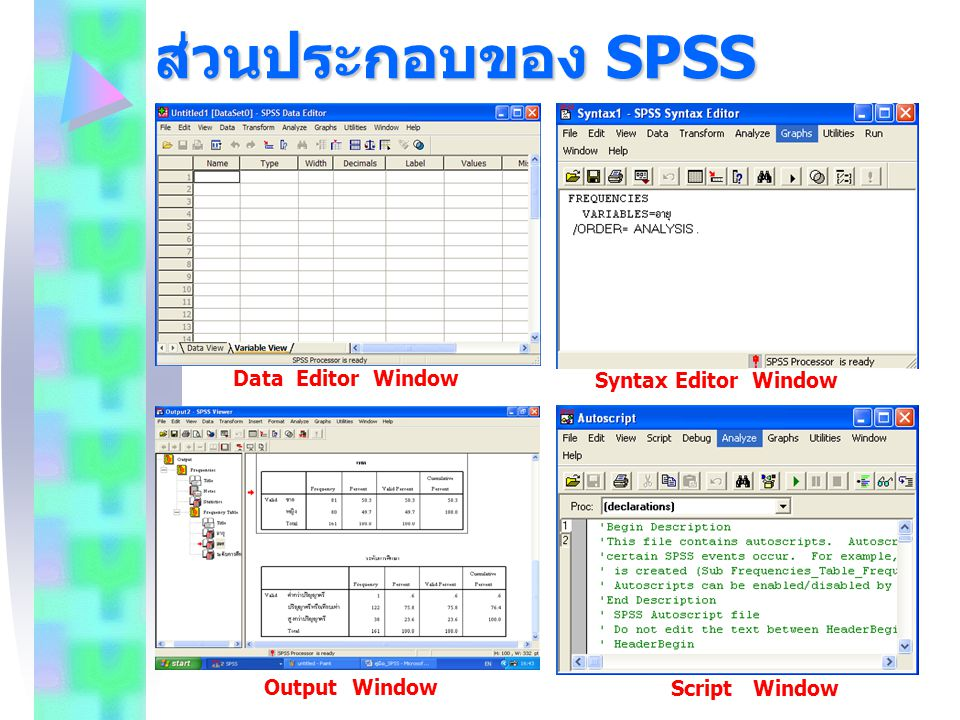 ส่วนประกอบของ SPSS Data Editor Window Syntax Editor Window