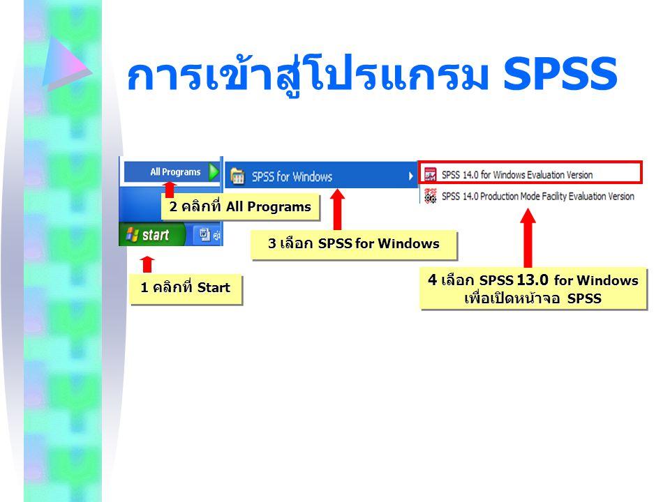 การเข้าสู่โปรแกรม SPSS