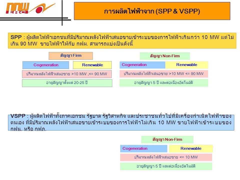 การผลิตไฟฟ้าจาก (SPP & VSPP)