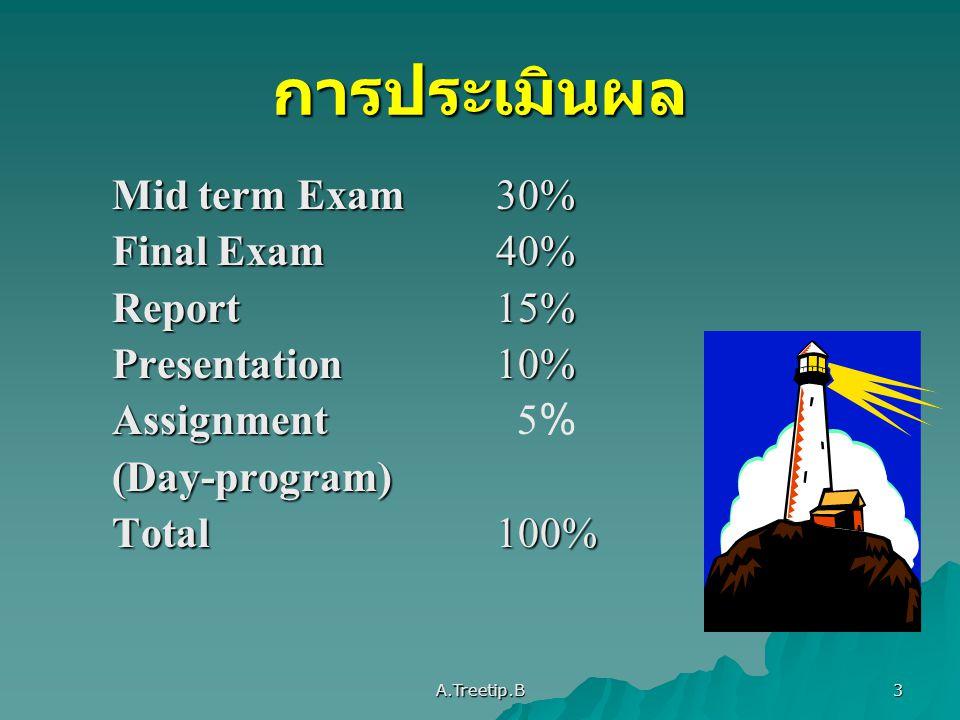 การประเมินผล Mid term Exam 30% Final Exam 40% Report 15%