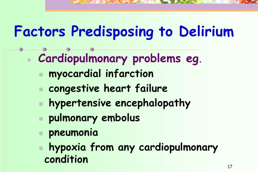 Factors Predisposing to Delirium