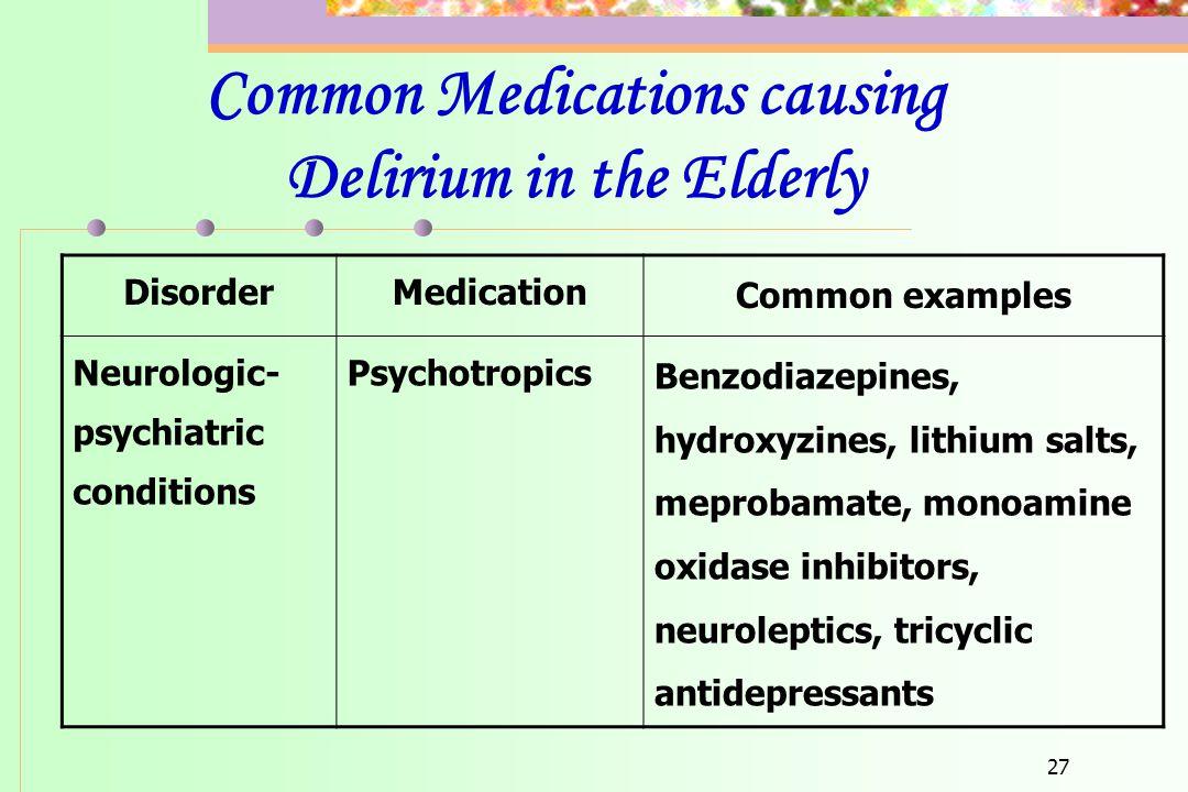 Common Medications causing Delirium in the Elderly