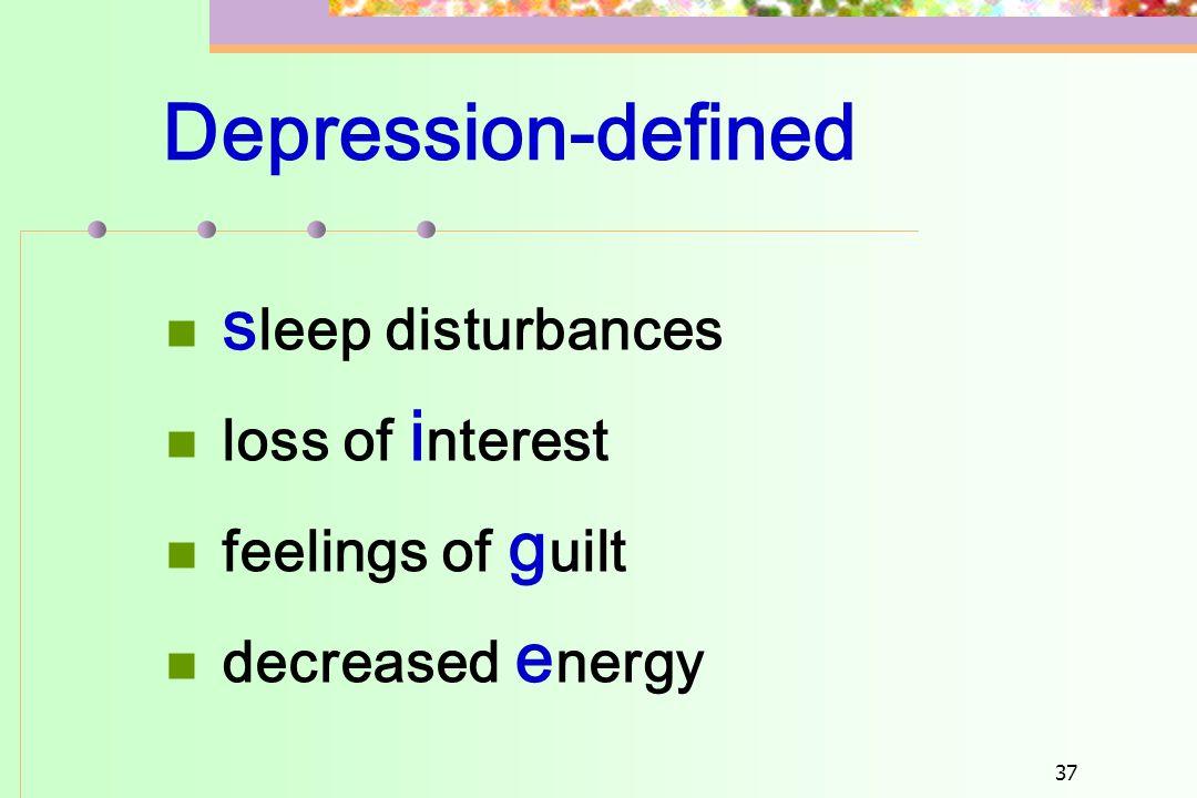 Depression-defined sleep disturbances loss of interest