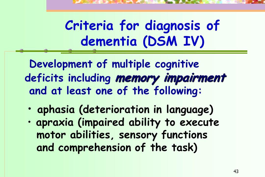Criteria for diagnosis of