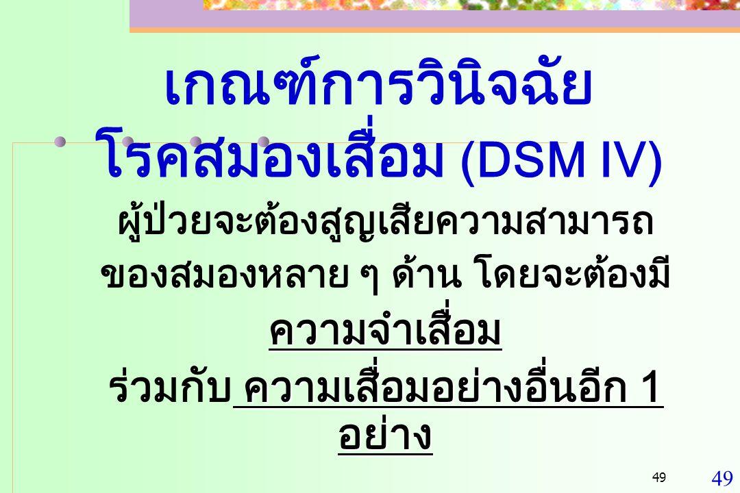 เกณฑ์การวินิจฉัย โรคสมองเสื่อม (DSM IV)