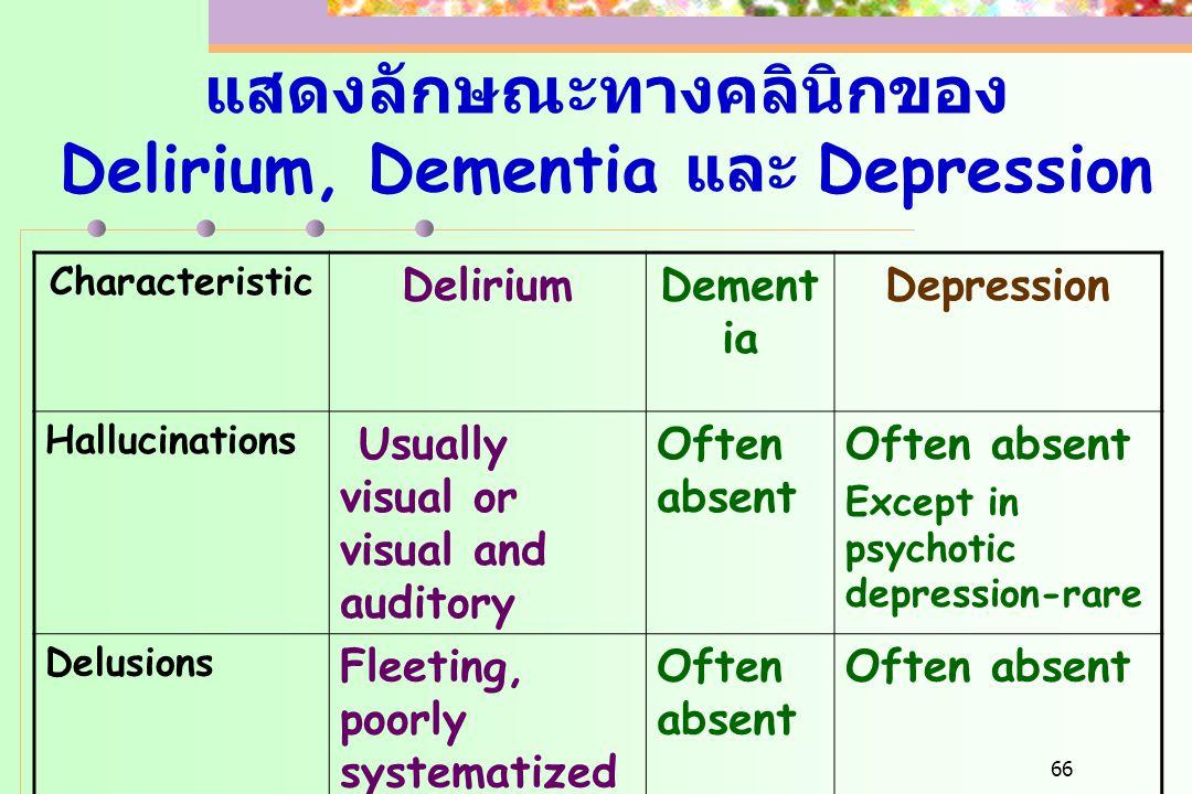 แสดงลักษณะทางคลินิกของ Delirium, Dementia และ Depression