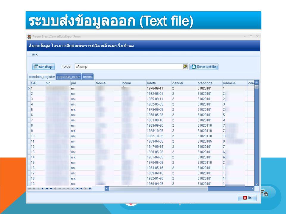ระบบส่งข้อมูลออก (Text file)