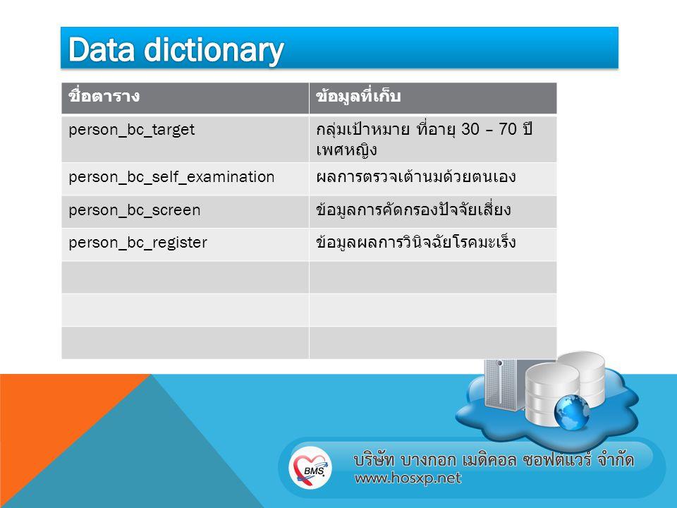 Data dictionary ชื่อตาราง ข้อมูลที่เก็บ person_bc_target